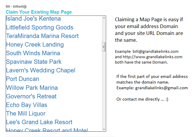 Claim your Map Page.